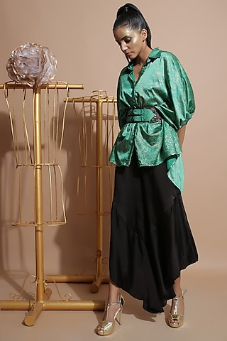 Green & Black Tunic Set With Belt by Pallavi Jaipur