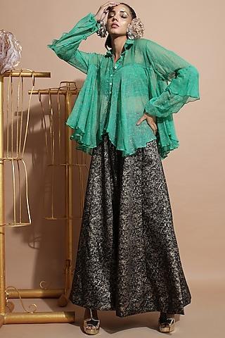 Green Chiffon Tunic Set by Pallavi Jaipur