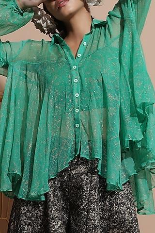 Green Bemberg Tunic Set by Pallavi Jaipur
