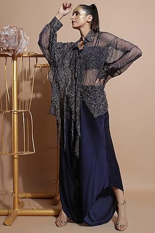 Navy Blue Draped Pant Set by Pallavi Jaipur