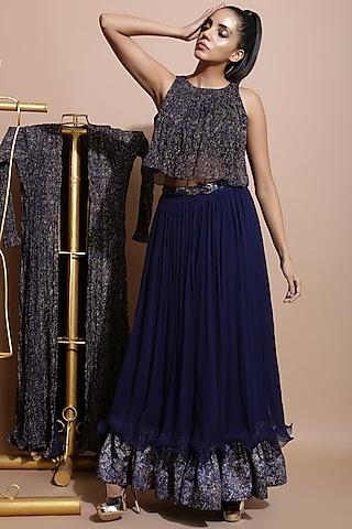 Navy Blue Embroidered Skirt Set by Pallavi Jaipur