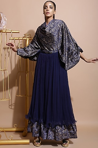 Navy Blue Skirt Set With Belt by Pallavi Jaipur