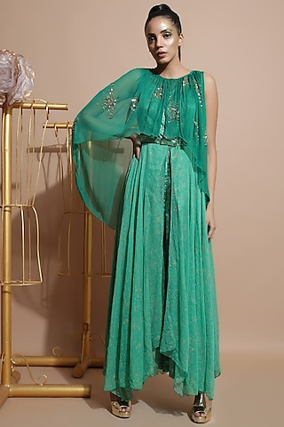 Green Draped Jumpsuit by Pallavi Jaipur