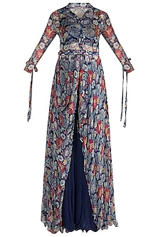 Navy Blue Embellished Printed Tunic With Sharara Pants, Tube Top & Belt by Pallavi Jaipur