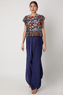 Navy Blue Printed Top With Pants by Pallavi Jaipur