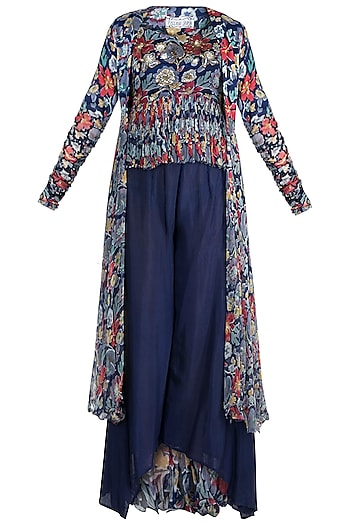 Navy Blue Embellished Printed Top With Cape & Pants by Pallavi Jaipur