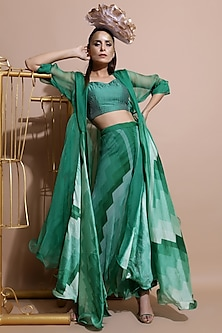 Green Printed Cape Set by Pallavi Jaipur