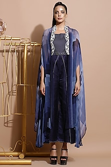 Navy Blue Printed & Embroidered Scallop Cape by Pallavi Jaipur