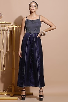 Navy Blue Embroidered Wrap Jumpsuit With Belt by Pallavi Jaipur