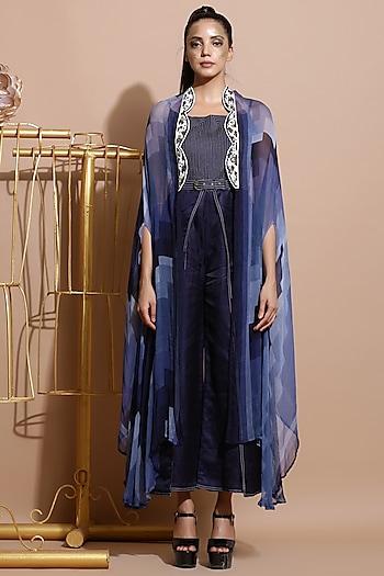 Navy Blue Wrap Jumpsuit With Printed Cape & Belt by Pallavi Jaipur