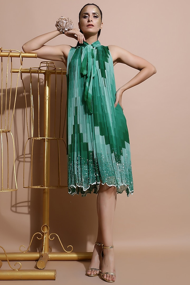 Green Embroidered & Printed Dress by Pallavi Jaipur