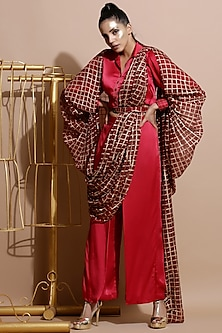 Deep Red Printed Cape With Balloon Sleeves by Pallavi Jaipur