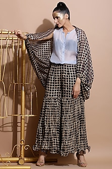 Navy Blue Printed Cape With Balloon Sleeves by Pallavi Jaipur