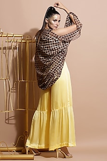 Brown Printed Cape With Balloon Sleeves by Pallavi Jaipur