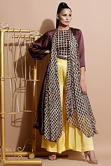 Brown Printed Crop Top With Cape, Yellow Pants & Belt by Pallavi Jaipur
