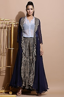 Navy Blue Printed Jacket With Sharara Pants & Shirt Tunic by Pallavi Jaipur