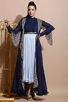 Navy Blue & Sky Blue Ruched Dress With Printed Jacket & Belt by Pallavi Jaipur