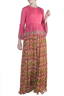 Candy Pink Embellished Top With Printed Skirt by Pallavi Jaipur