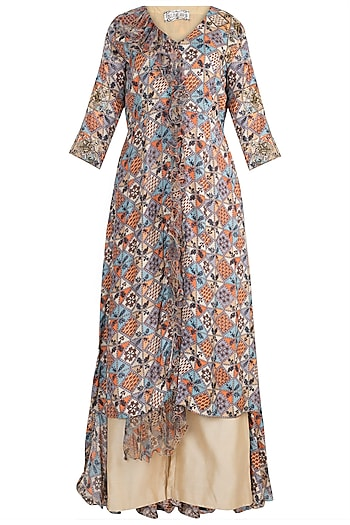 Sage Green Embellished Printed Tunic With Beige Culotte Pants by Pallavi Jaipur