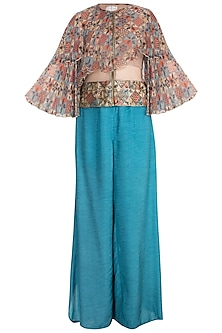 Sage Green Embellished Printed Bomber Jacket With Teal Pants by Pallavi Jaipur