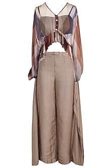 Brown Printed Boho Top With Pants, Tube Top & Belt by Pallavi Jaipur