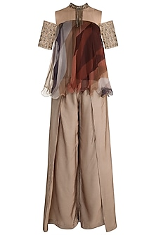 Brown Embellished Printed Top With Pants by Pallavi Jaipur