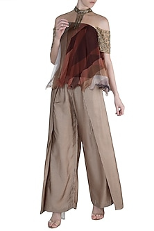 Brown Embellished Printed Top With Pants by Pallavi Jaipur