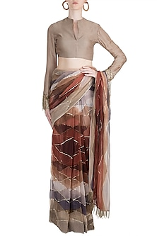 Brown Embellished Printed Saree Set With Belt by Pallavi Jaipur