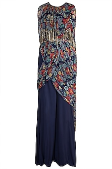 Navy Blue Jumpsuit With Embellished Printed Bundi Jacket & Belt by Pallavi Jaipur