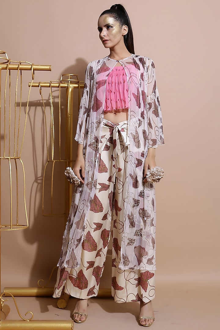 Fawn White Embroidered Cape With Pants & Pink Crop Top by Pallavi Jaipur