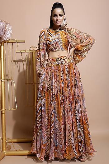 Mustard Leheriya Skirt Set by Pallavi Jaipur