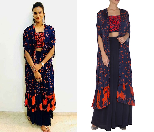 Navy Blue Embroidered Printed Crop Top With Cape & Pants by Suave by Neha & Shreya