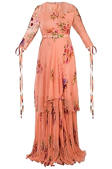 Peach Printed Layered Maxi Dress With Belt by Pallavi Jaipur