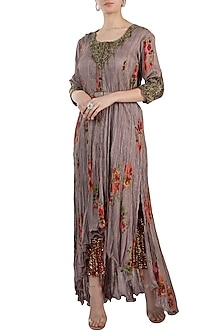 Grey Embroidered Printed Kurta With Pants & Belt by Pallavi Jaipur
