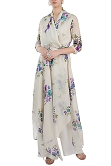 Ivory Printed Angrakha Wrap Kurta With Pants by Pallavi Jaipur