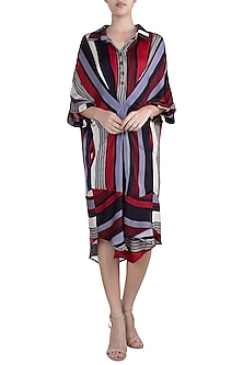 Multi Colored Striped Shift Dress by Pallavi Jaipur
