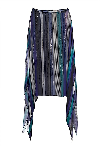 Peacock Blue & Black Embroidered Printed Cape by Pallavi Jaipur