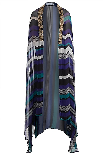 Peacock Blue & Black Printed Embroidered Cape by Pallavi Jaipur