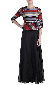Multi Colored Embroidered Printed Peplum Top With Pants by Pallavi Jaipur