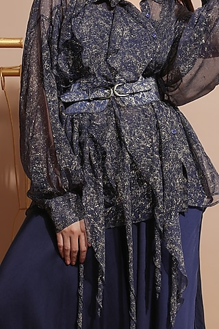 Navy Blue Pant Set With Belt by Pallavi Jaipur