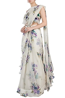 Ivory Printed Frill Pre-Stitched Saree Set With Belt by Pallavi Jaipur
