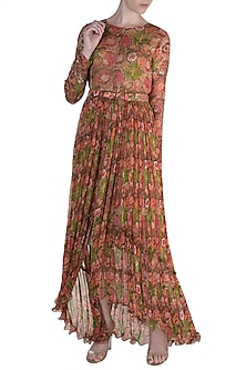 Brown Embellished Printed Midi Dress by Pallavi Jaipur