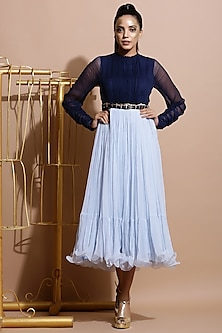Navy Blue & Sky Blue Ruched Dress With Printed Belt by Pallavi Jaipur