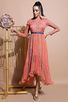 Salmon Pink Embroidered Dress With Blue Printed Belt by Pallavi Jaipur