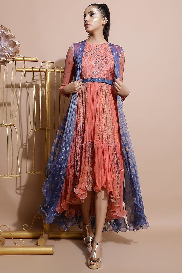 Salmon Pink Embroidered Dress With Blue Printed Cape & Belt by Pallavi Jaipur