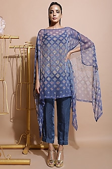 Indigo Blue Printed Cape With Pants & Inner by Pallavi Jaipur