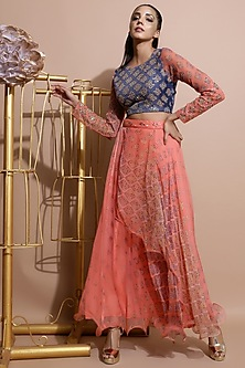 Indigo Blue Printed Crop Top With Salmon Pink Skirt by Pallavi Jaipur