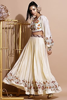 Cream & Red Printed Lehenga Set by Pallavi Jaipur