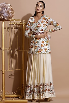 Cream Printed Skirt Set With Embroidered Belt by Pallavi Jaipur