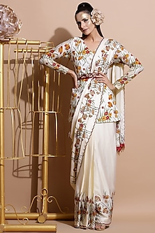 Cream Printed Saree With Coat & Embroidered Belt by Pallavi Jaipur